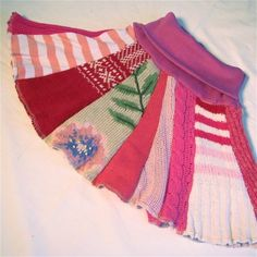 So cute! A little girls skirt out of old sweaters