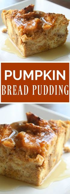 Pumpkin Bread Pudding – Daily Appetite This recipe for Pumpkin Bread Pudding has all the flavors of pumpkin pie. Drizzled with warm maple syrup and served with vanilla ice cream. This will be your favorite Fall dessert. Dessert Party, Köstliche Desserts, Dessert Recipes, Pudding Desserts, Bread Pudding Recipes, Healthy Bread Puddings, French Bread Pudding Recipe, Easy Bread Pudding, Challah Bread Machine Recipe