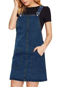 Dressy Dress // Go for that simple but pretty casual look as you choose to wear this blue side pockets overall denim pinafore dress. Denim Pinafore, Pinafore Dress, Jean Vintage, Denim Overall Dress, Dressy Dresses, Holiday Outfits, Casual Looks, Women's Casual, Overalls