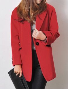 Red Notch Lapel Woolen Coat #womens fashion