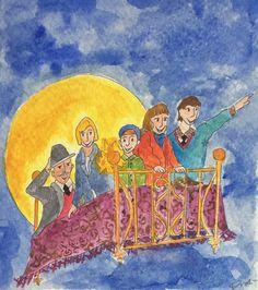 Acquarello Pomi d'ottone e manici di scopa...letti che volano e magie!