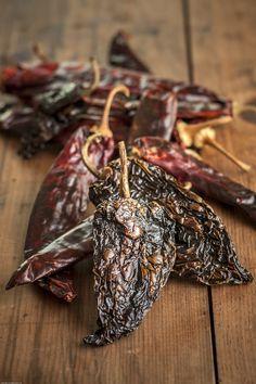 Toasted ancho, guajillo and New Mexico chiles for Pozole Rojo