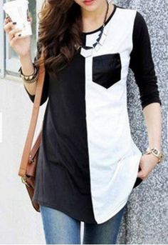Brief Scoop Neck Color Spliced Long Sleeve T-Shirt For Women