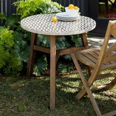 Mosaic Tiled Bistro Table - Bronze Hex + Driftwood Base #West Elm