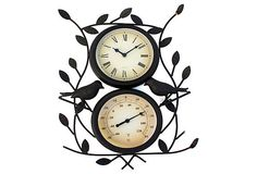 Bird Thermometer & Wall Clock