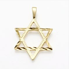 14k Yellow Gold Jewish Star of David Pendant Engraved