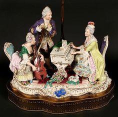 DRESDEN STYLE PORCELAIN GROUP LAMP. Volkstedt porcelain figu