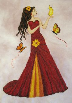 0 point de croix femme en robe rouge & jaune, feu et papillons - cross stitch girl, lady in a red & yellow dress, fire and butterflies