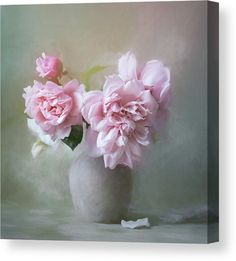 Peonies in Grey Vase Wall Art for sale. Delicate Pastel Pink Peony Flower Photography combined with digital Watercolor Painting techniques. Canvas, Acrylic Prints, Posters and more. Visit our Store to see all options! #pinkpeonies #peoniespainting #peoniesart #peonieflower Very Nice Images, Canvas Art For Sale, Most Popular Flowers, Watercolor Painting Techniques, Thing 1, Vase, Peony Flower, Pink Peonies, Tag Art