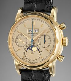 Patek Philippe An extremely attractive and most probably unique yellow gold perpetual calendar chronograph wristwatch with moonphases, champagne dial and original certificate, hangtag and correspondence