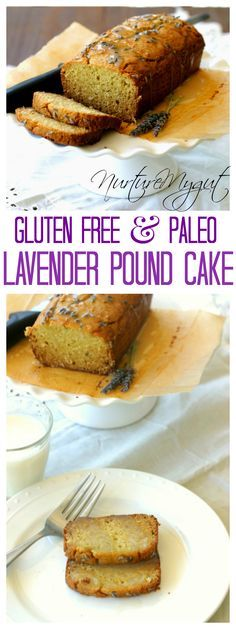 Gluten Free & Paleo Friendly Lavender Pound Cake.  Uses coconut flour.  Made with fresh lavender flowers.