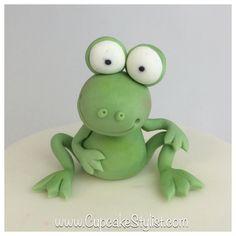 Fondant Frog Cake Topper by CupcakeStylist on Etsy