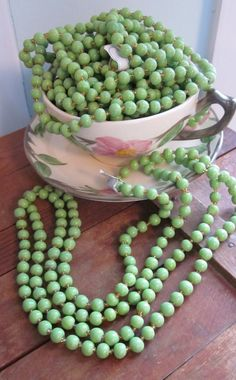 Vintage Pea Green Glass Beads