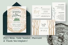 Tree Ring Wedding Invitation Suite by Knotted Design on @creativemarket
