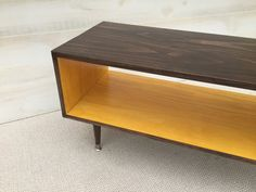 Coffee Table - Mid Century Modern Coffee Table in Chocolate and Teal Coffee Table Pictured L 40 x W 16 x H 16 Shelving Space: x 16 This handcrafted Mid Century Modern coffee table is made from Pin Teal Coffee Tables, Coffee Table Redo, Coffee Table Furniture, Mid Century Coffee Table, Modern Coffee Tables, Refurbished Furniture, Handmade Furniture, Home Decor Furniture, Furniture Design