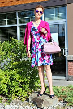#fashionover40 #agelessStyle woman in dress with cardigan