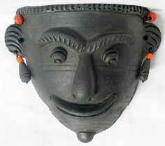 Tribal Mask - Terracotta Wall Hanging (Terracotta))
