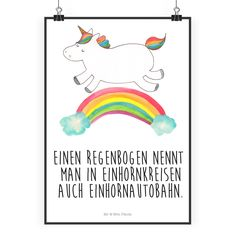 """Poster DIN A2 Einhorn Regenbogen aus Papier 160 Gramm  weiß - Das Original von Mr. & Mrs. Panda.  Jedes wunderschöne Poster aus dem Hause Mr. & Mrs. Panda ist mit Liebe handgezeichnet und entworfen. Wir liefern es sicher und schnell im Format DIN A2 zu dir nach Hause.    Über unser Motiv Einhorn Regenbogen  Ganz nach dem Motto """"Einen Regenbogen nennt man in Einhornkreisen auch Einhornautobahn"""". Das wunderbare Regenbogen Einhorn von Mr. & Mrs. Panda.    Verwendete Materialien  Es handelt sich…"""