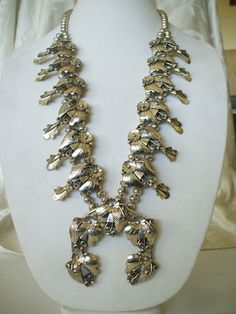 Signed Vintage NAVAJO Sterling Silver Squash Blossom Necklace, by A. EDSITTY.  TurquoiseKachina, $899.00
