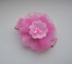 cute felt and tulle flower with beads baby pink hair clip hair clippie
