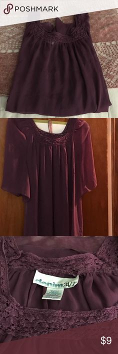Burgundy Tunic Burgundy Tunic, Thin sheer material. Denim 24/7, Size 2X. Excellent Condition. Denim 24/7 Tops Tunics
