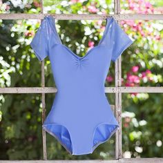 Periwinkle blue cap sleeve mesh sweetheart dance leotard