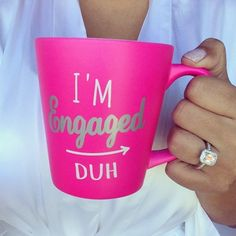 @pinkalique has some new ice, so of course she needed our I'm Engaged Duh Mug (only $12!). Grab yours now before they're gone for good! Link in bio to shop now! #engaged #bridetobe #francescas