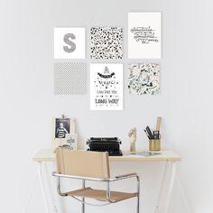 Pack de 6 cuadros con frases, letra inicial e ilustraciones — La Kermesse http://www.kermesseaccesorios.com.ar/tienda-online/packs-de-cuadros/pack-cuadros-decorativos-minimalista-ilustraciones-frases-letra-inicial/