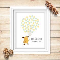Reindeer Fingerprint Balloons Guest Book for Baby Shower, Christmas - Digital Printable Personalized Print - birthday thumbprint guestbook by BonjourEmma on Etsy https://www.etsy.com/sg-en/listing/475390450/reindeer-fingerprint-balloons-guest-book