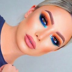 Colorful Makeup Looks to Rock at A Summer Party Fashionisers© makeup ideas orange eyeshadow - Makeup Ideas Orange Eyeshadow, Orange Makeup, Eyeshadow Makeup, Makeup Lips, Makeup Brushes, Eyeshadow Ideas, Eyeshadows, Rock Makeup, Eyeshadow Palette