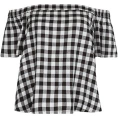 New Look Black Gingham Check Bardot Neck Top (175 SEK) ❤ liked on Polyvore featuring tops, black pattern, short sleeve tops, print top, pattern tops and gingham top