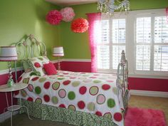 Girls Bedroom Ideas in Pink & Green - those hanging Pom poms in action... And in an older girl's room