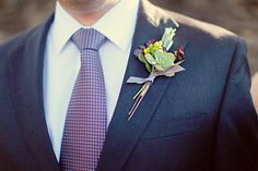 I love the purple tie and neutral boutonniere.  | photos by http://www.julierobertsphoto.com | see more http://www.thebridelink.com/blog/2013/06/24/knoxville-wedding-by-julie-roberts-photography-2/ #wedding