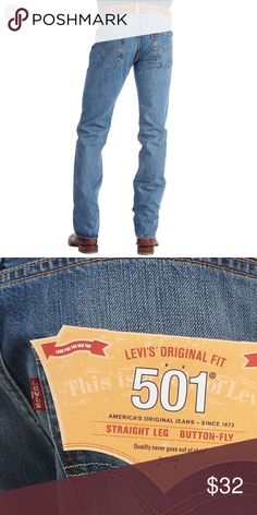 335e39dc84 Men s Levi Strauss Original Fit 501 NWOT Men s Levi Strauss Original Fit  501 NWOT W 38 L 32 Medium Stonewashed Levi s Jeans Straight