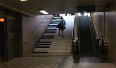 To encourage people to take the stairs instead of the escalator, regular stairs at the Odenplan subway station in Stockholm were turned into piano keys.      Not surprisingly, after the piano stairs were installed, 66% more people than usual chose the stairs over the escalator. [The Fun Theory]