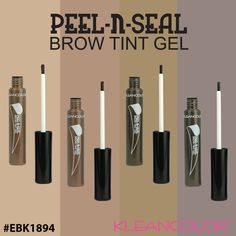 Peel-N-Seal Brow Tint Gel gives you perfectly tinted and filled in brows with budge proof 12 hour wear.  Simply brush on following your brows natural shape, let dry completely and peel off to seal in amazing brows! #kleancolor #peelnseal #browtintgel #eyebrows #brows #budgeproof #makeup #cosmetics #beauty
