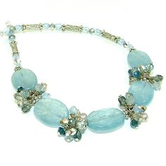 Light Denim Wire Wrapped Crystal Clusters by SylviaSwaseyDesigns, $88.00
