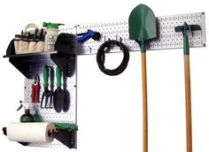 Wall Control Pegboard Garden Tool Board Organizer with Metallic Pegboard and Black Accessories