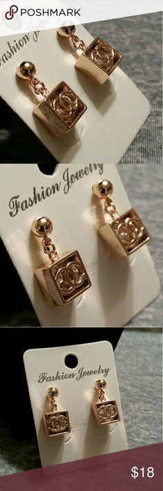 Box cz earrings Rose gold plated  square box cc earrings with cubic zirconia Jewelry Earrings