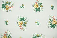 1940's Vintage Wallpaper Floral Wallpaper por HannahsTreasures