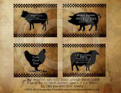 Prim Farm Animals Cow Pig Sheep Chicken by HoneyBeePrintables