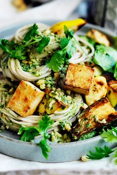 Fuel your body with wholesome zucchini and tofu noodles and coriander pesto - a delicious combination full of nourishing goodness! Perfect for a delicious vegan alternative to your traditional Christmas spread. Tofu Recipes, Asian Recipes, Cooking Recipes, Healthy Recipes, Vegetarian Cooking, Vegetarian Recipes, Christmas Dinners, Christmas Christmas, Christmas Recipes