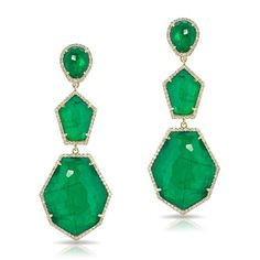 14KT Yellow Gold Emerald Triple Drop Earring<br /> Earring measures at approximately 2""