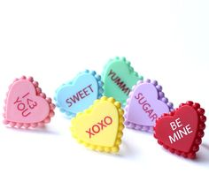 """Decorate your Valentine's Day cupcakes with our new conversation heart cupcake topper rings! You'll receive 12 rings in assorted colors. Measures: about1.5"""" acr"""
