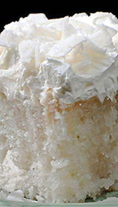 Triple Coconut Cake~using White Cake Mix Coconut Desserts, Coconut Recipes, Just Desserts, Delicious Desserts, Yummy Food, Coconut Poke Cakes, Cream Of Coconut Cake, Coconut Cake Easy, Coconut Flour