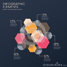 Creative flat hexagon infographics design
