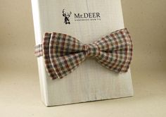 Checked Yelow, Red, Blue Bow Tie - Ready Tied Bow Tie - Adult Bow Tie - Mens bowtie - Groomsman, Wedding Bow Tie - Gift for Him - Mr.DEER