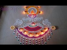 Beautiful Pink Rangoli Designs with colours - Celebration and Competition Rangoli by Maya! - YouTube