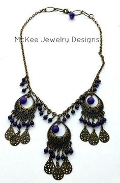 Purple dancers. Bronze and purple amethyst stone necklace. Jewelry McKee Jewelry Designs andria mckee, mckee jewelry   hand made jewelry, jewellery