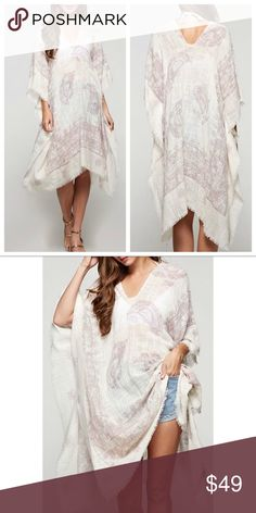 """Paisley Kaftan Coverup Beautiful linen-colored handkerchief kaftan in a lilac paisley print. Perfect as a swim coverup or can be worn over a tank and leggings. Measures approx. 36"""" in length at its longest point. One size fits most. Please visit www.bellarissa.com for more info. BRAND NEW WITH TAGS!!!  100% Cotton Lovestitch Swim Coverups"""